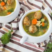 This quick, healthy, easy meatball soup with whole wheat orzo and vegetables will warm you on the chilliest of days without leaving you with that heavy, over-full feeling. Get the 30 minute meal on RachelCooks.com!