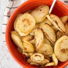 A classy yet stand-out side dish, these sautéed parsnips are flavored with wine, butter, and thyme. They're the perfect addition to any meal - especially Thanksgiving! Get the easy recipe on RachelCooks.com!