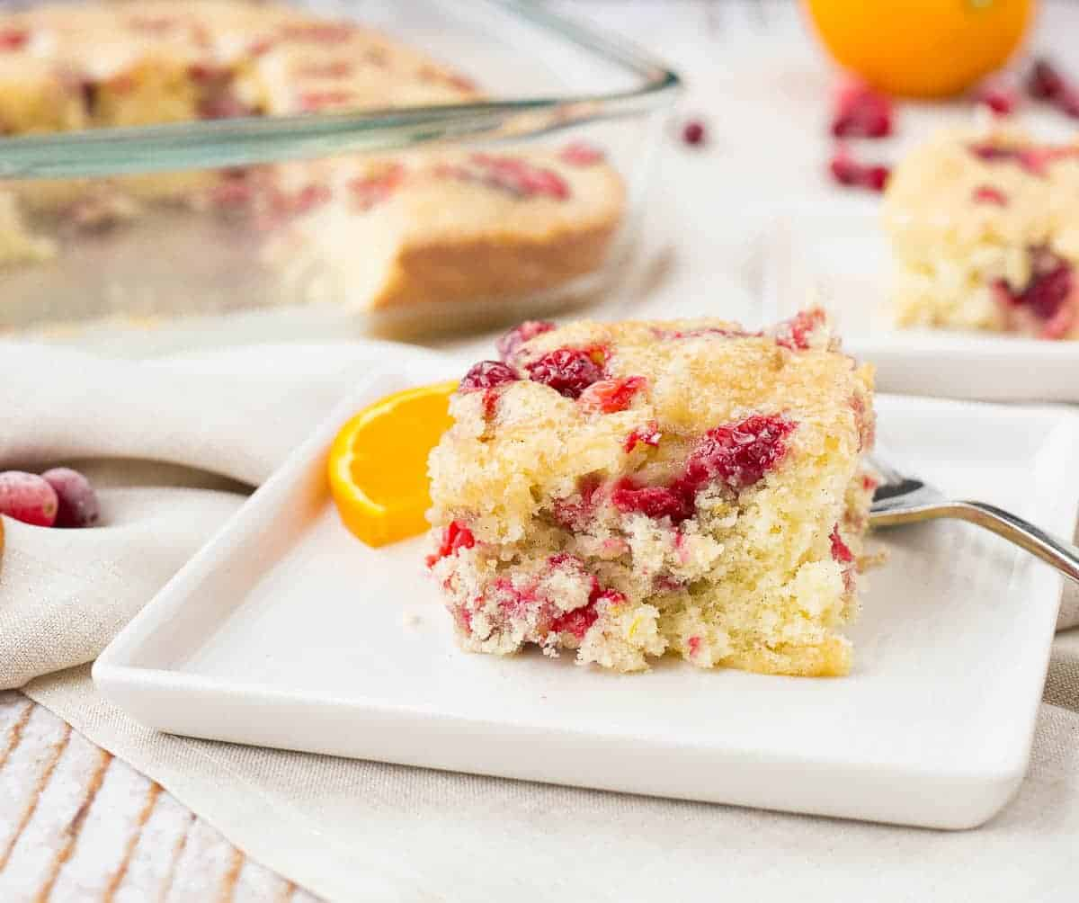 Cranberry Coffee Cake with Orange and Cardamom