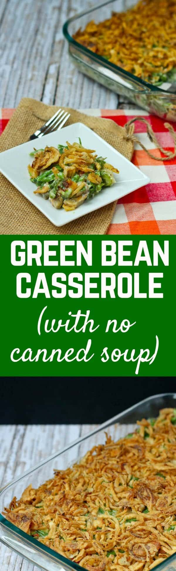 This green bean casserole recipe requires no opening of cans. It's deliciously creamy without canned soup. And it's still simple to make! Get the recipe on RachelCooks.com!