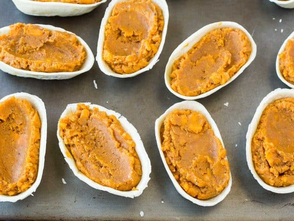 This sweet potato casserole without nuts is perfect for those nut-free homes -- plus it's a fun handheld version. It's a fun and tasty twist on a classic. Get the fun Thanksgiving or Friendsgiving recipe on RachelCooks.com!