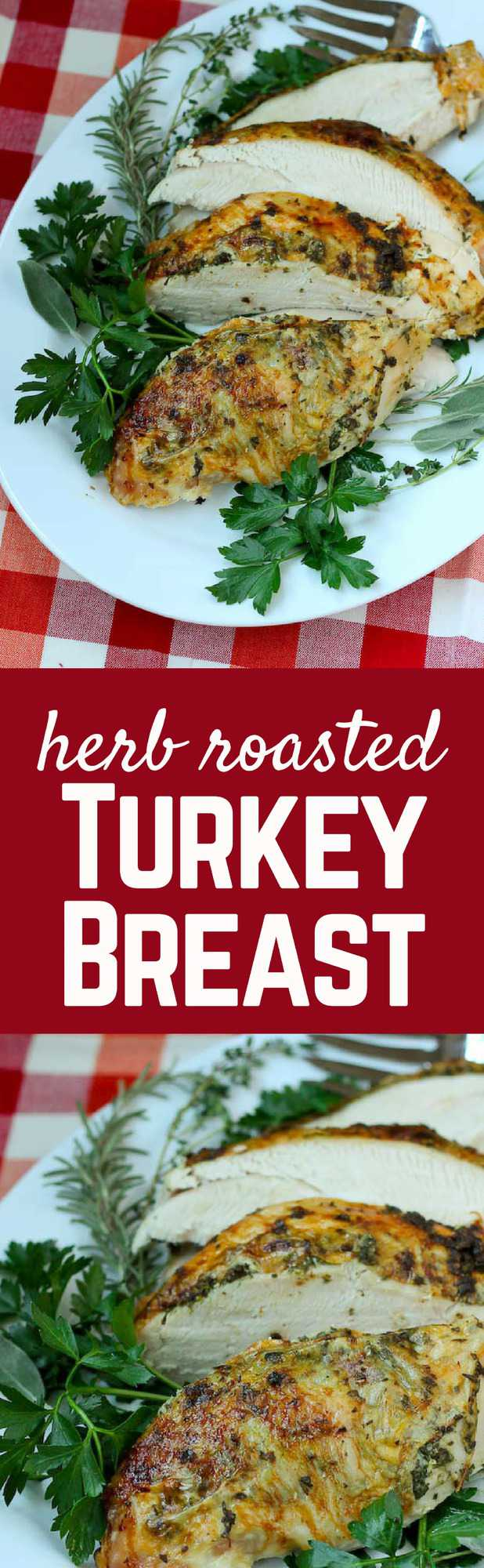 This herb roasted turkey breast is a delicious and flavorful idea for Thanksgiving dinner. Great for smaller families or people who don't like dark meat! Get the recipe on RachelCooks.com!