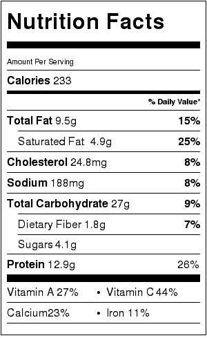 vegetarian lasagna soup nutrition label