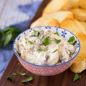 This slow cooker chicken cheese dip with marsala tastes like everyone's favorite chicken marsala but in an irresistibly cheesy, dip form. It's a hearty appetizer that's going to be a hit at your next party. Get the easy recipe on RachelCooks.com!