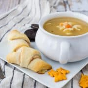 Pair these turkey and cheese crescent rolls with a hot bowl of cozy chicken noodle soup for a quick and delicious meal on even the busiest of days! Get the easy recipe on RachelCooks.com!