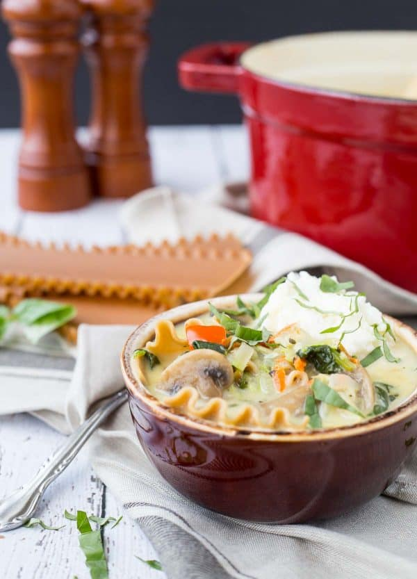 This vegetarian lasagna soup is creamy, comforting and packed full of vegetables. It's all made in one pot and is the perfect soup for a cold day. Get the soup recipe on RachelCooks.com!