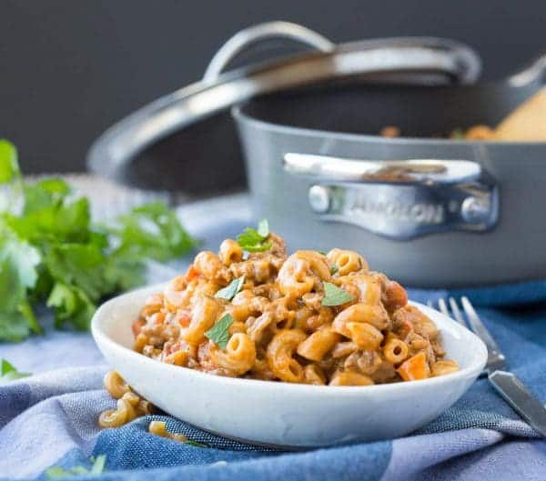 A classic boxed meal, made healthier and heartier. And guess what? It's not that much harder to make! Your whole family will love this healthy homemade hamburger helper. Get the 30 minute meal recipe on RachelCooks.com!
