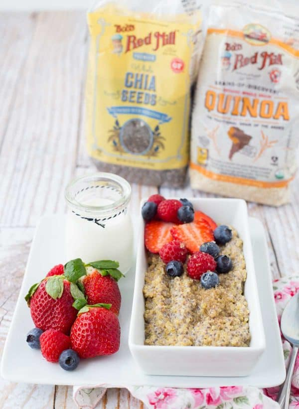 Looking for a filling and nutritious breakfast but slightly bored with oatmeal? You'll love this protein-packed breakfast quinoa! Have fun with toppings! Get the healthy breakfast recipe on RachelCooks.com!