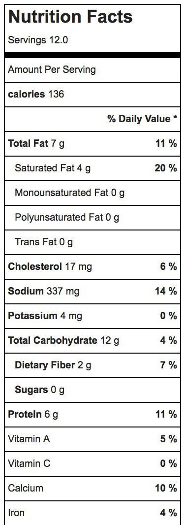 Refried Bean Dip Nutrition Label