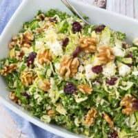 Kale Quinoa Salad with Walnuts, Cranberries, and Feta