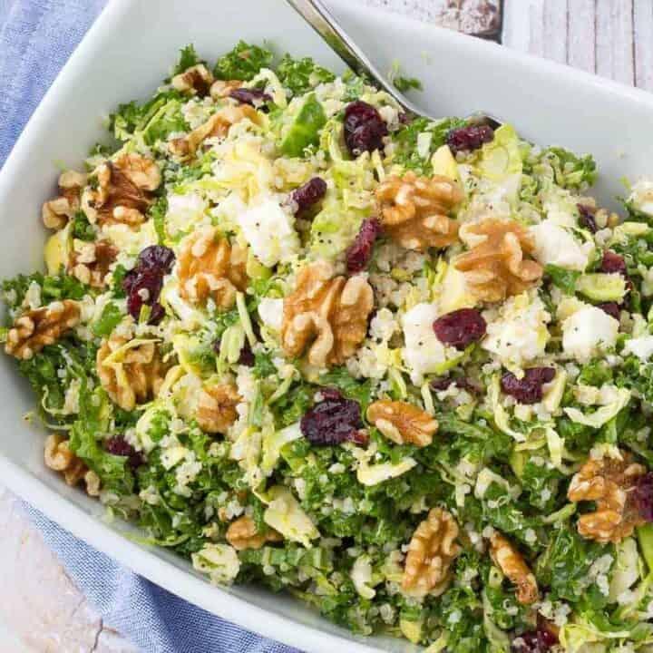 Kale Quinoa Salad With Walnuts Cranberries And Feta