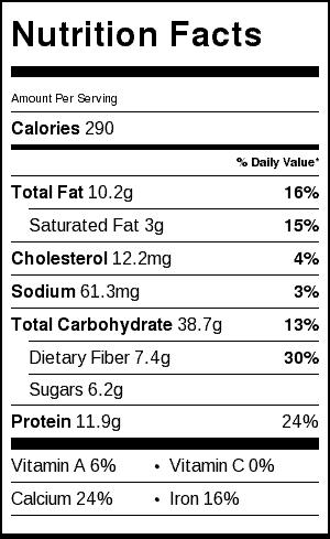 hot quinoa nutrition label