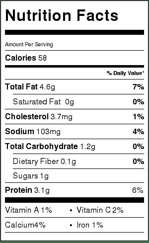 Skinny Dill Vegetable Dip Nutrition Information