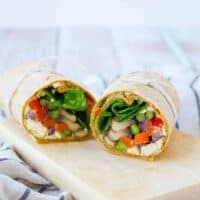 Roasted Vegetable Wrap with Feta and Pesto