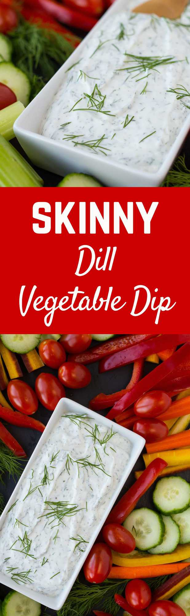 This skinny dill vegetable dip is a staple in our fridge -- we're hardly ever without it! You won't want to stop snacking on vegetables when you're dipping them in this healthy and low-cal dip.