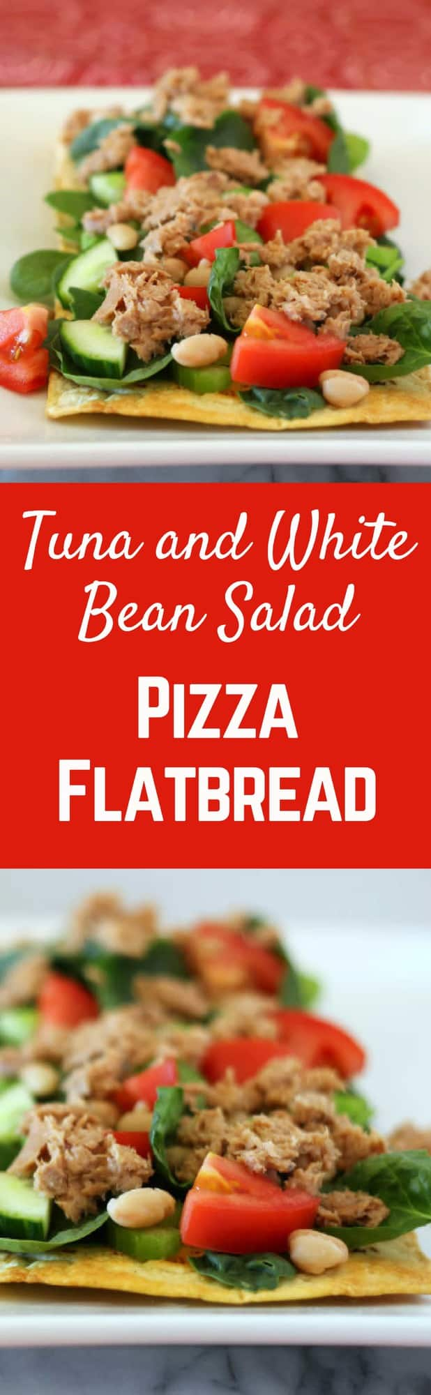 Tuna and White Bean Salad Flatbread Pizza - 27 grams of protein and less than 300 calories! Get the healthy recipe on RachelCooks.com