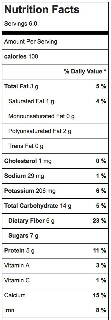 Chocolate Chia Pudding Nutrition Label