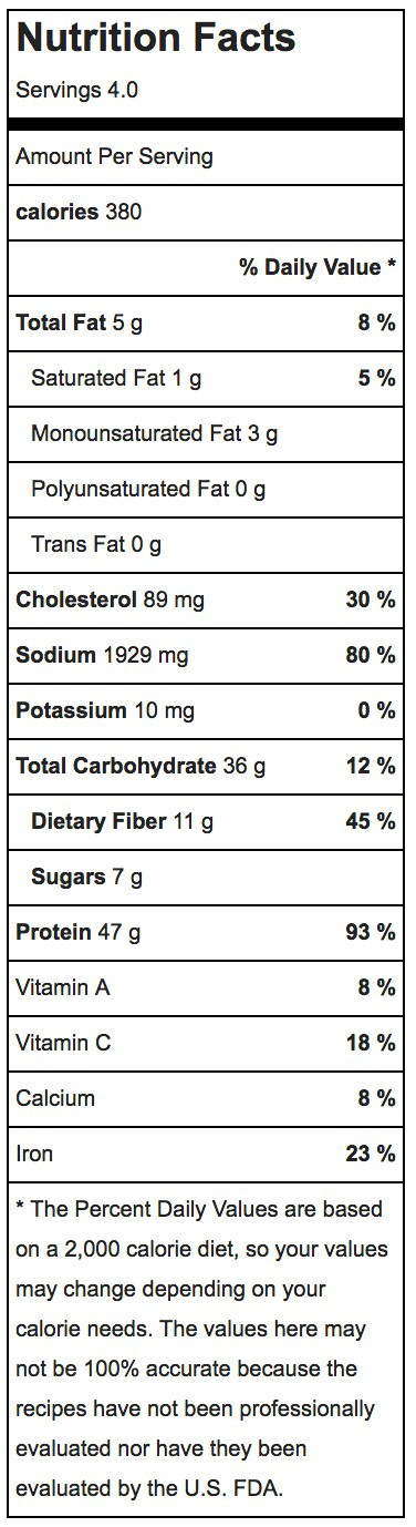 Easy Chicken Chili Nutrition Label