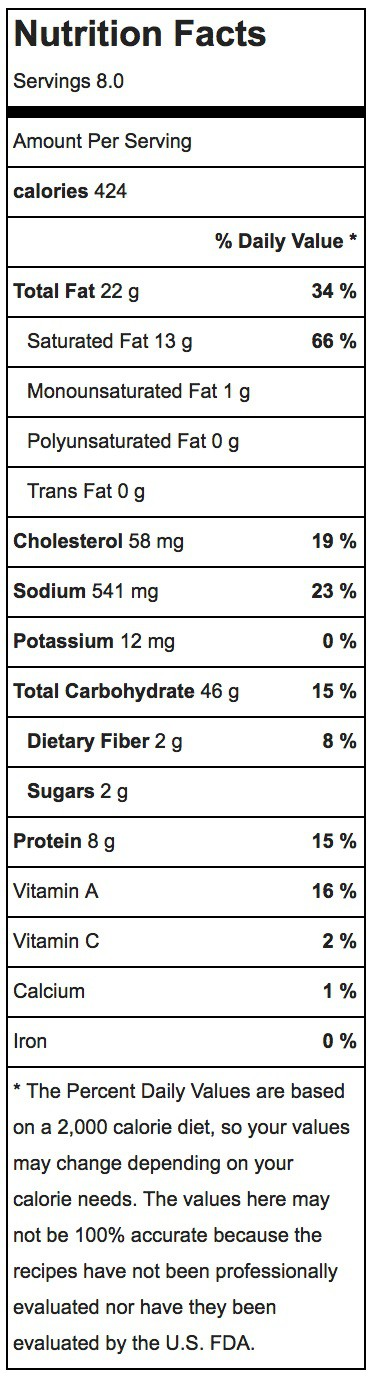 Buttermilk Biscuits Nutrition Label