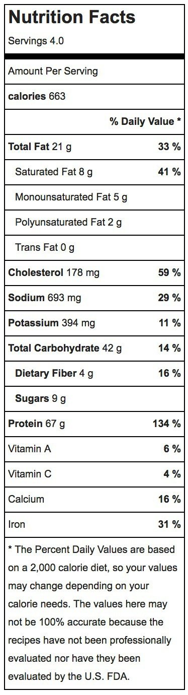 One Pan Chicken Quinoa Marsala Recipe Nutritional Label