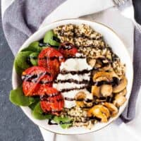 Quinoa Bowl Recipe with Roasted Tomatoes, Ricotta and Balsamic