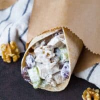 Healthy Chicken Salad with Walnuts and Grapes