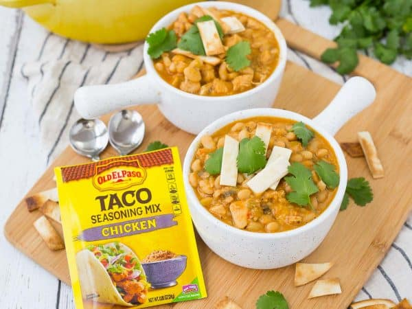 A packet of chicken taco seasoning not only makes this easy chicken chili a breeze to make, it also lends unbelievable flavor to this recipe! Get the easy soup recipe on RachelCooks.com!