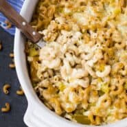 Creamy and flavorful, this green chile macaroni and cheese will change the way you think about macaroni and cheese! There's no need to make a roux, so it's one of the easiest things you can make, too! Get the easy vegetarian recipe on RachelCooks.com!