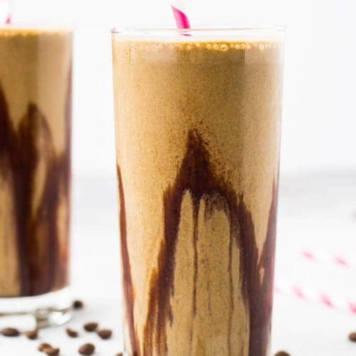 Get your protein and coffee fix all at once with this irresistible mocha protein shake recipe. You'll want to drink it daily! Get the easy and healthy recipe on RachelCooks.com!