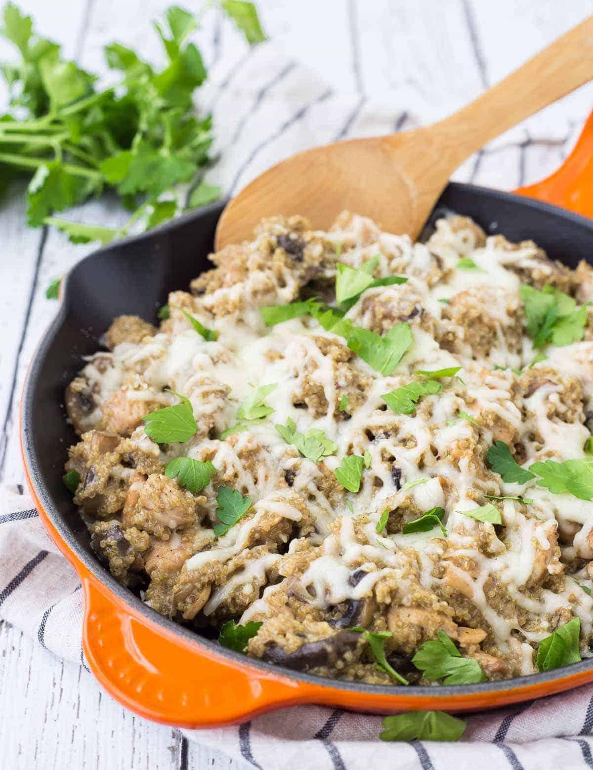 One Pan Chicken Quinoa Marsala Recipe