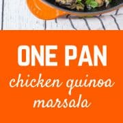 Creamy, comforting, and healthy, this one pan chicken quinoa marsala is a healthy and filling take on the flavors of chicken marsala. Best part? Only one pan gets dirty! Get the recipe on RachelCooks.com!