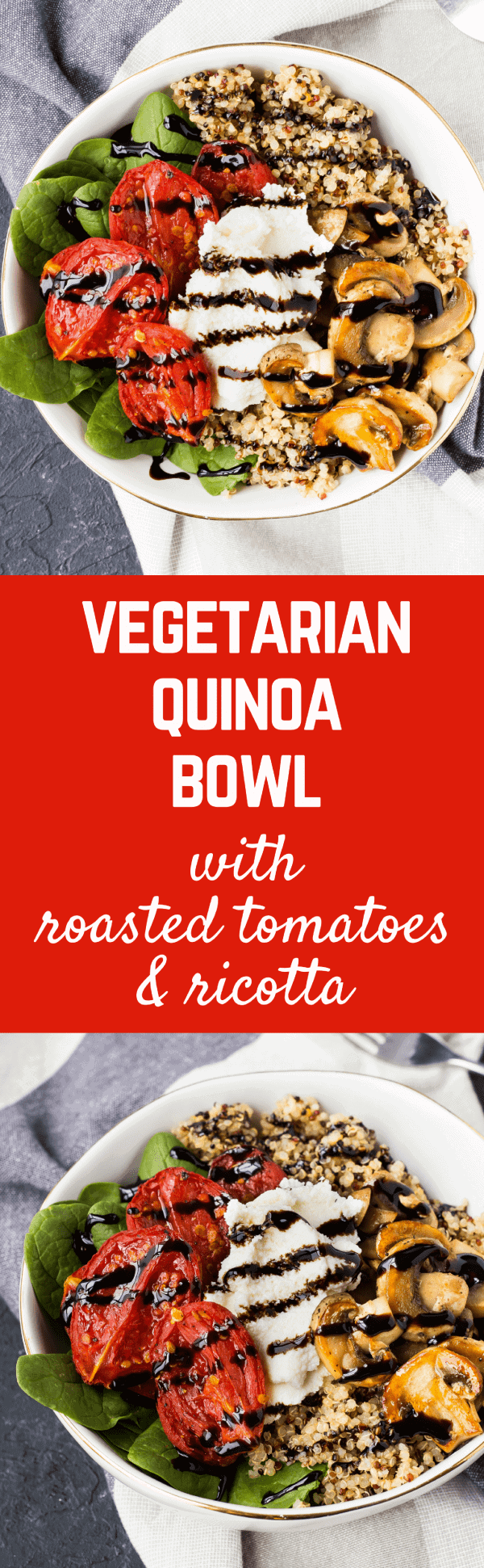 This quinoa bowl recipe is perfect for meal prep days - you'll love lunching on this all week! The roasted tomatoes are more flavorful than you'd believe! So great for meal-prepping! Get the easy and healthy recipe on RachelCooks.com!