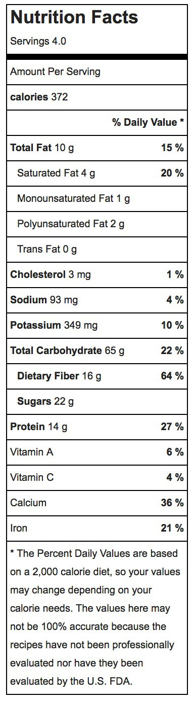 Apple Cinnamon Baked Oatmeal Recipe Nutrition Label