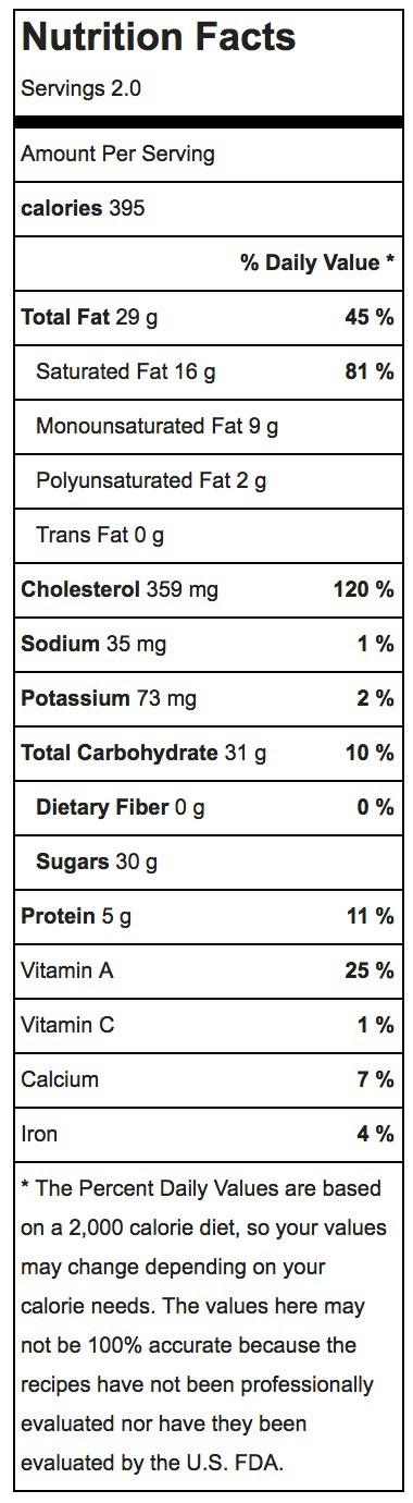 Easy Creme Brulee Nutrition Label