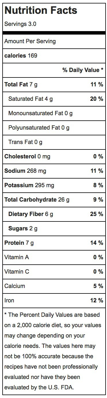Cinnamon Roasted Chickpeas Nutrition Label