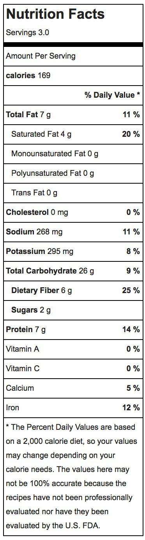 Cinnamon Roasted Chickpeas Nutrition Label