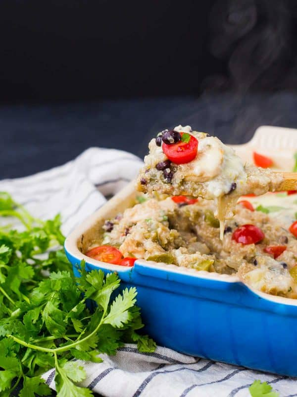 Easy to make in one pan, this green chile chicken quinoa casserole is a healthy, filling, and flavorful meal that everyone will love. Get the recipe on RachelCooks.com