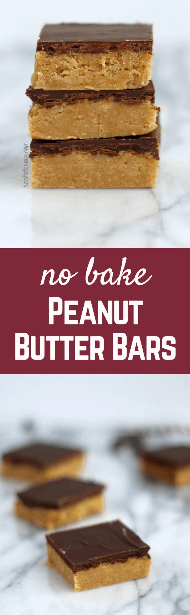 No Bake Peanut Butter Bars {taste just like Reese's!} | RachelCooks.com