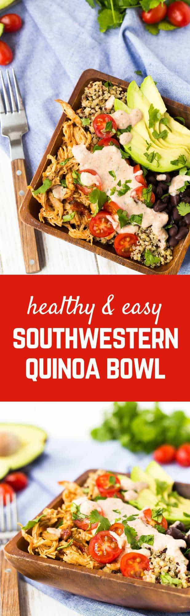 Chicken and black beans make this Southwestern Quinoa Bowl an incredibly filling and healthy lunch or dinner. It's ideal if you do meal prepping! Get the easy recipe on RachelCooks.com!