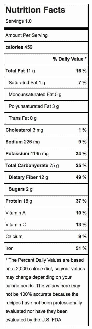 Southwestern Quinoa Bowl Nutrition Label