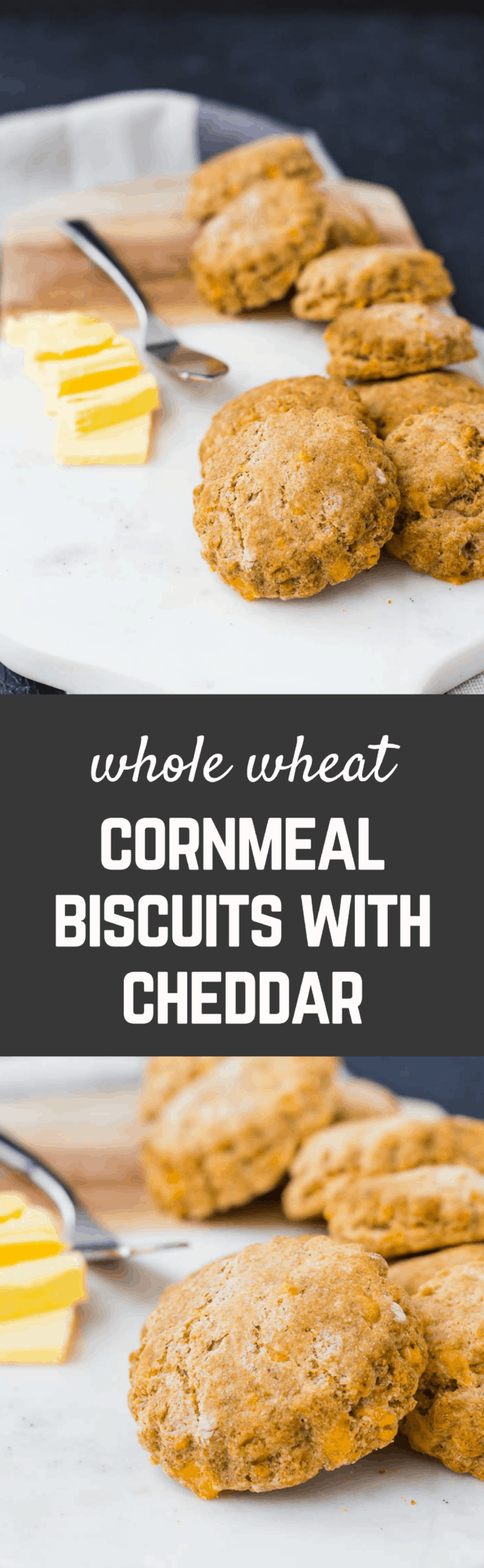 Whole wheat biscuits are flaky and decadent, like you'd expect. What's unexpectedly delicious is the crunch of cornmeal and flavor of cheddar and pepper. Get the easy recipe on RachelCooks.com!