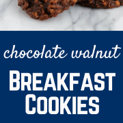 These breakfast cookies are a great balance of health and decadence with chocolate, walnuts, whole wheat flour, and a low amount of fat.