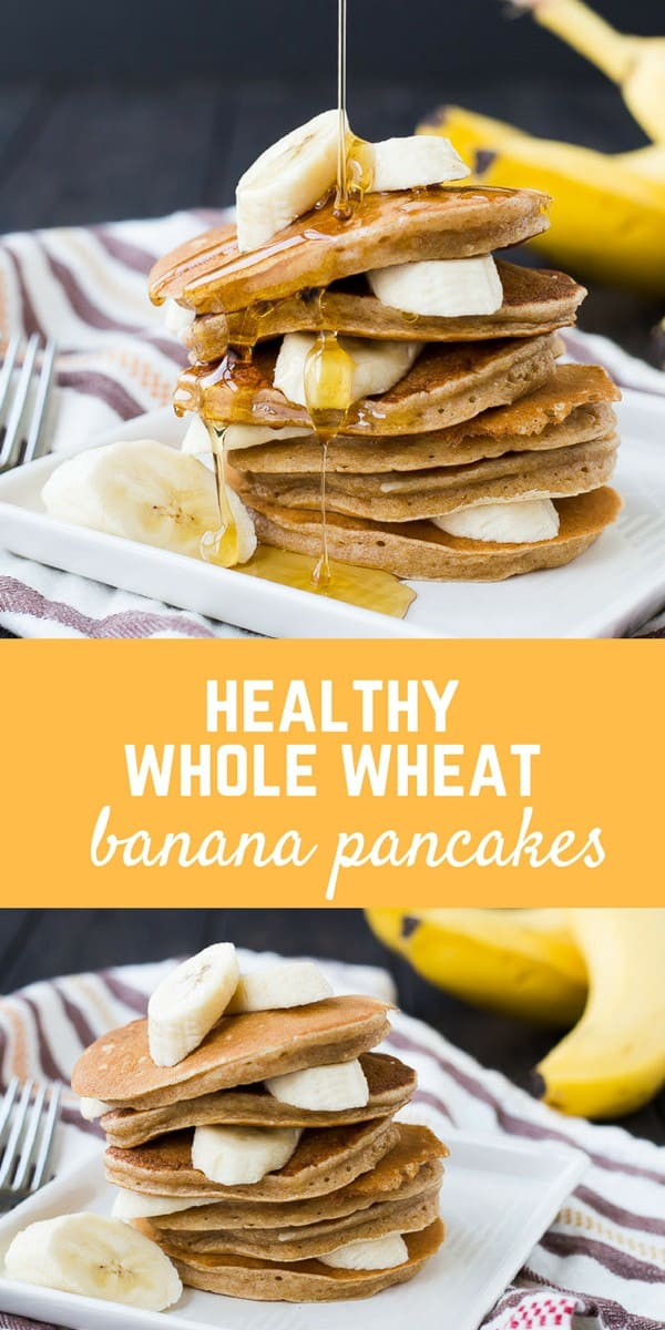 These easy and healthy banana pancakes taste just like banana bread in a whole wheat pancake form! They freeze well and will make mornings delicious! Get the healthy pancake recipe on RachelCooks.com!