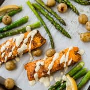 This Salmon and Asparagus Sheet Pan Dinner with Potatoes is the easiest dinner thanks to a delicious shortcut! Even if you're intimidated by cooking fish, you can handle this recipe! Get the recipe on RachelCooks.com!