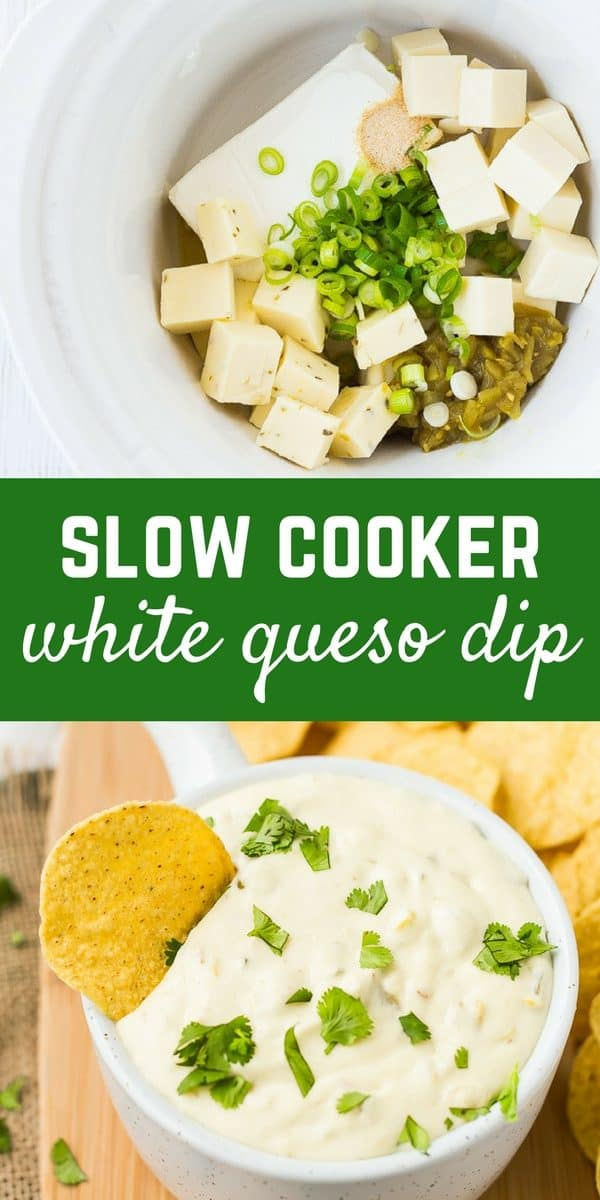 Queso Blanco in the Slow Cooker is easy, Velvetta-free, and you will not be able to stop dipping chips in it! Get the easy slow cooker dip recipe on RachelCooks.com!
