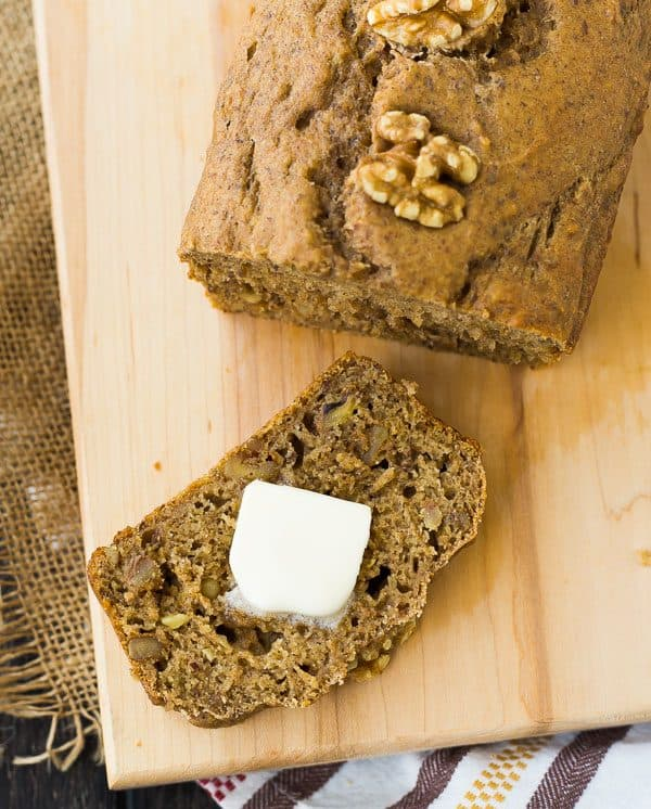 Whole Wheat Applesauce Bread with Walnuts is a hearty and healthy bread - great for breakfast or snacking! The recipe makes two loaves and freezes great! Get the recipe on RachelCooks.com!