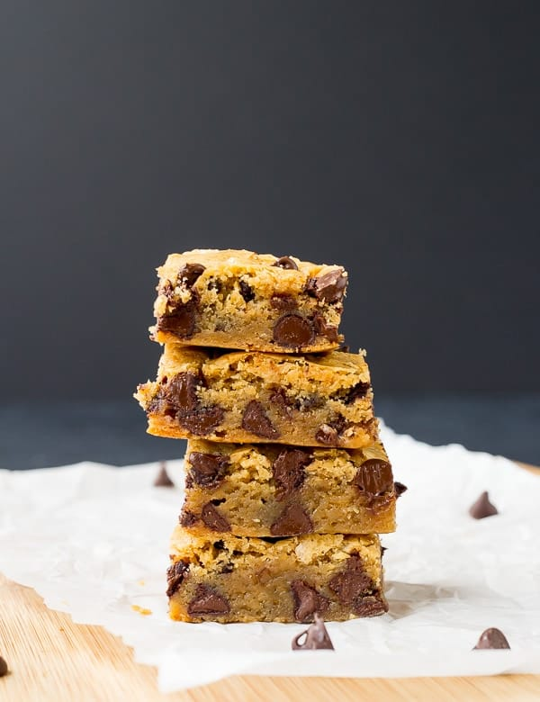 These chocolate chip blondies only take 6 ingredients (plus salt) and come together so easily. They're everything you want in a blondie - rich and moist with the perfect addition of chocolate chips! Get the recipe on RachelCooks.com!