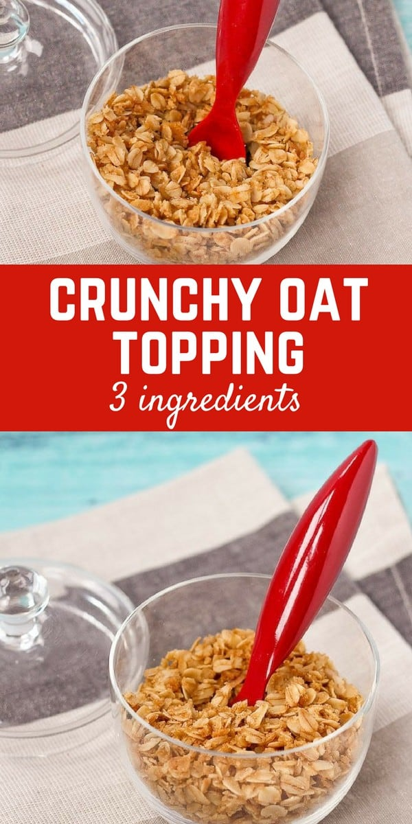 3 ingredient crunchy oat topping - perfect on ice cream and yogurt! Get the easy recipe on RachelCooks.com