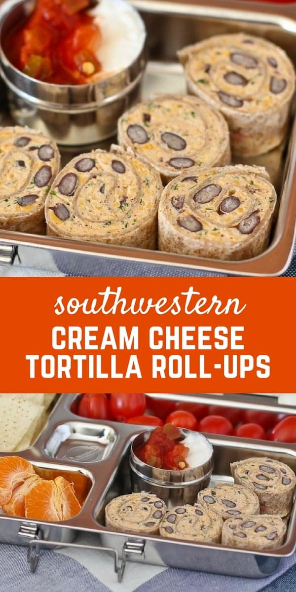 Southwestern Cream Cheese Tortilla Roll-Ups - Get the easy, lunchbox-perfect, recipe on RachelCooks.com.