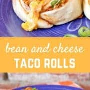 These bean and cheese taco rolls are the perfect lunchtime treat -- imagine a cinnamon roll except take out the cinnamon and add lots of great southwestern flavor! Get the easy recipe on RachelCooks.com